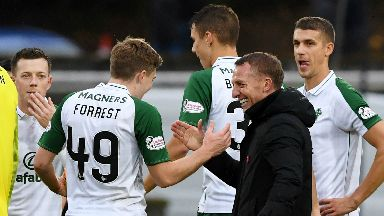 Recognition: James Forrest and Brendan Rodgers have won October's top player and boss awards.