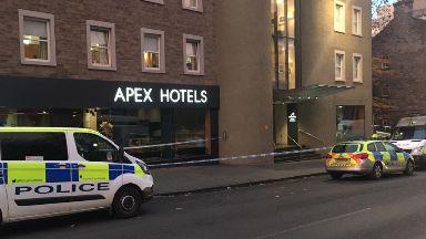 Attack: Area outside hotel cordoned off. Apex Hotel Grassmarket Edinburgh
