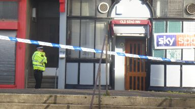 Death: Area outside pub cordoned off. Greenview Street Shawlands