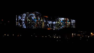 Light installation at Scottish Parliament for WWI centenary 2018