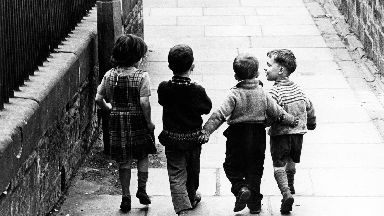 Children: Four friends were pictured in 1966.