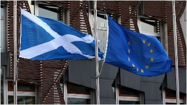 PA: Saltire and Euro flag