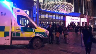 Buchanan Galleries: Area cordoned off. Man Seriously Injured after falling