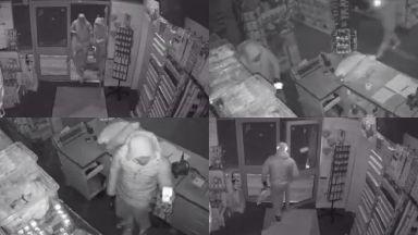 CCTV of break-in at Hallmark Glenrothes