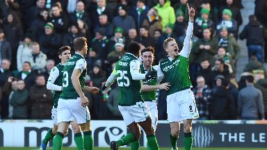 Hibs defeated the champions at Easter Road.