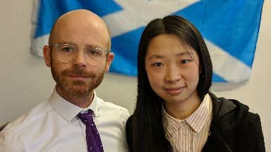 Chennan Fei with MP Martin Docherty-Hughes