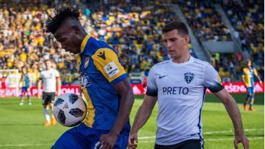 Target: Celtic are chasing FC DAC attacker Issouf Bayo (left).