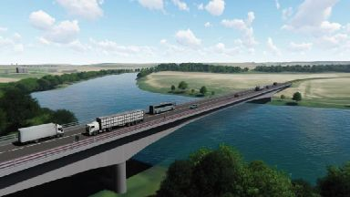 Artist's impression of Cross Tay Link Road project, new Tay bridge. January 2019