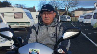 Drew McCartney, 67, from Cumnock has Motor Neurone Disease (MND) and lives in a caravan January 2019