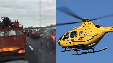 M90: The route has been closed in both directions. Air Ambulance