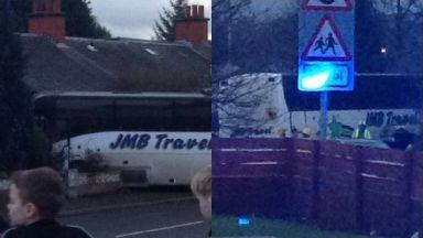 Coatbridge: Road has been closed by police. Carnbroe Road School Bus