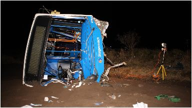 Stagecoach bus hits bridge and lands on side on the B9161 at Littlemill Bridge, Munlochy, near Inverness Jan 2019