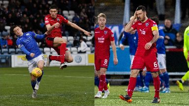 Defeat: Ross County's Ross Stewart competes with Jordan Marshall, team captain Ross Draper.