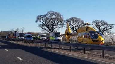 Emergency: An air ambulance has been called. A90 Kinfauns slip road in Perth and Kinross
