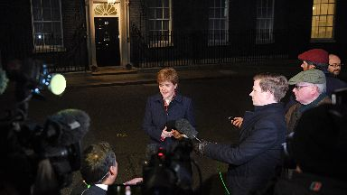 Scotland's First Minister Nicola Sturgeon speaking to the media at 10 Downing Street after talks over Brexit with Prime Minister Theresa May.