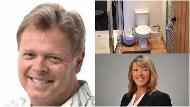 Clockwise from left, Robert Curran, the toilet and Jo McGarry-Curran.
