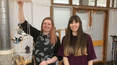 Lucy Robertson (r) and Sara Nevay (l), Duncan of Jordanstone smart fabric researchers