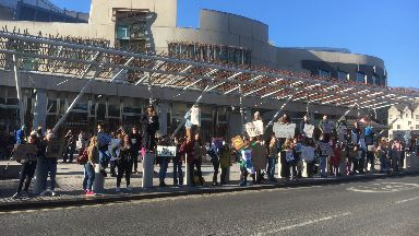 Climate change protests Scottish Parliament February 2019