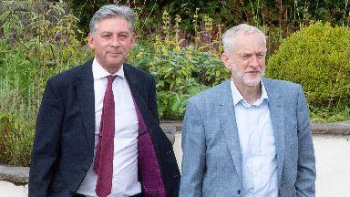 Richard Leonard and Jeremy Corbyn in Lanark.
