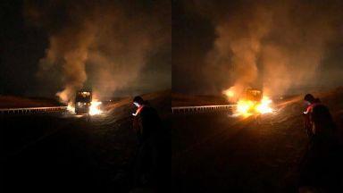 Blaze: Bus on A90 near Foveran.