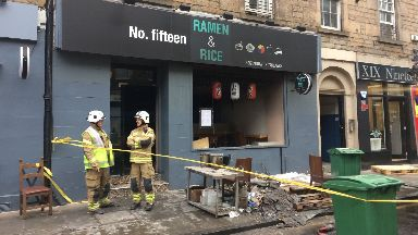 Edinburgh: The building has been cordoned off. Ramen and Rice Bread Street