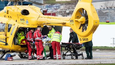 Airlifted: The man was taken to Aberdeen Royal Infirmary.