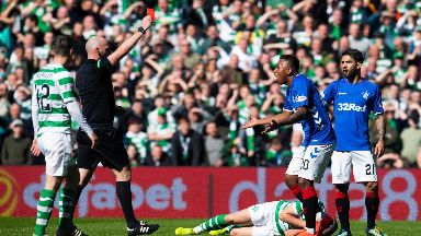 Alfredo Morelos red card Celtic Rangers March 2019