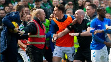 Celtic Rangers melee March 2019