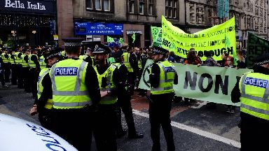 Edinburgh: Protesters blocked the road.