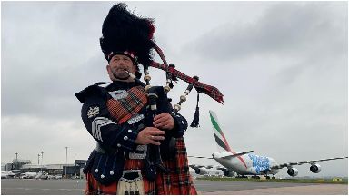 Superjumbo: Landed in Glasgow to a cheering crowd.