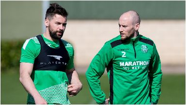 Darren McGregor and David Gray at Hibs training