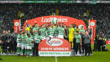 Champions: Celtic picked up the Premiership trophy.