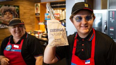 Lewis Capaldi: The singer dressed as a company employee.