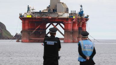 Greenpeace: Police watched on. BP Cromarty Firth Protext