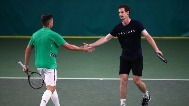 Andy Murray: The former number one was due to take to the doubles court.