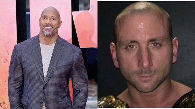 Tribute:  Dwayne 'The Rock' Johnson and Adrian 'Lionheart' McCallum.