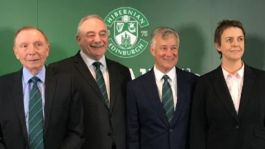 The outgoing Sir Tom Farmer and Rod Petrie, new owner Ronald Gordon and chief executive Leeann Dempster.
