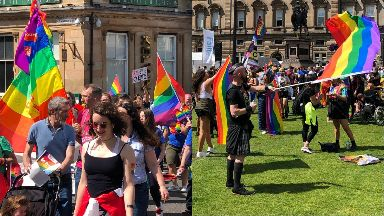 Pride: Thousands descended on Glasgow city centre.