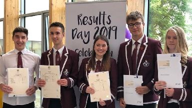 Students at Forth Valley college on exam results day 2019 August 6.