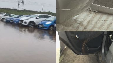 Prestwick: Cars were left badly damaged.