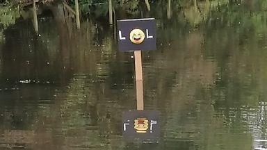 LOL sign Keptie Pond, Arbroath