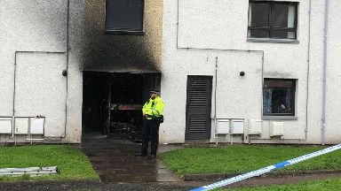 Forfar: The block of flats has been cordoned off. Lordburn Place in Forfar, Angus,