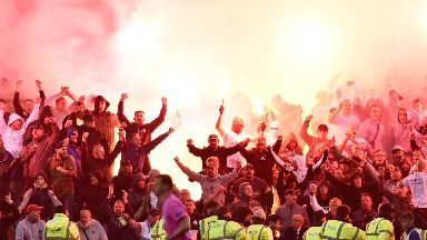 Rangers: Play was stopped by the referee. Legia Warsaw Flare
