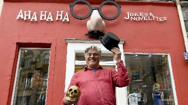Bill Cowan, owner of A Ha Ha Jokes and Novelties in Edinburgh September 2019