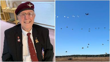 World War II veteran Sandy Cortmann from Aberdeen skydives in Netherlands