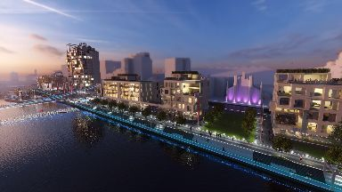 Revamp of Custom House Quay on banks of the River Clyde in Glasgow October 2 2019
