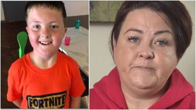 Jill Roberts and son Dougal, who passed away from a rare brain tumour in January