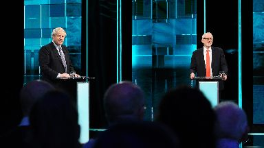 Boris Johnson and Jeremy Corbyn in ITV debate on November 19 2019.