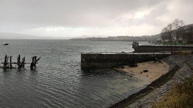 Cardwell Bay, Gourock where man is missing after getting into difficulty, December 8 2019