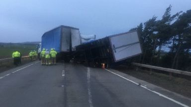 Lorries blown over on A1, December 12, 2019